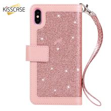Get more info on the KISSCASE Bling Leather Case For iPhone X XR XS Max Wallet Card Slots Stand Cover For iPhone 6 6S 7 8 Plus X Glitter Shining Capa