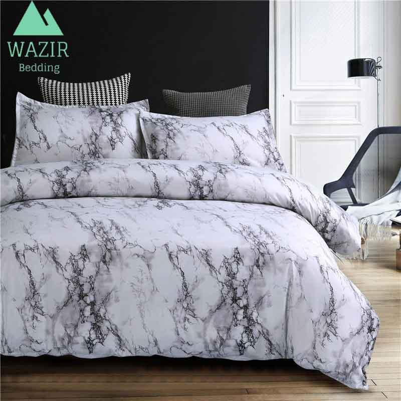 WAZIR Marble Printed Bedding Set Duvet Cover Pillowcase Size Single AU EU Double Full Queen King Bedclothes Comforters Bed Linen