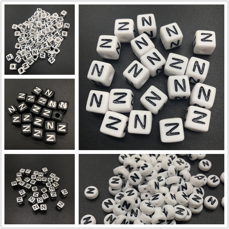 Free Shipping 500pcs 2600pcs Cube Acrylic Letters Beads Single Character Initial N Printing Gold Square Big Hole Loose Beads Beads & Jewelry Making
