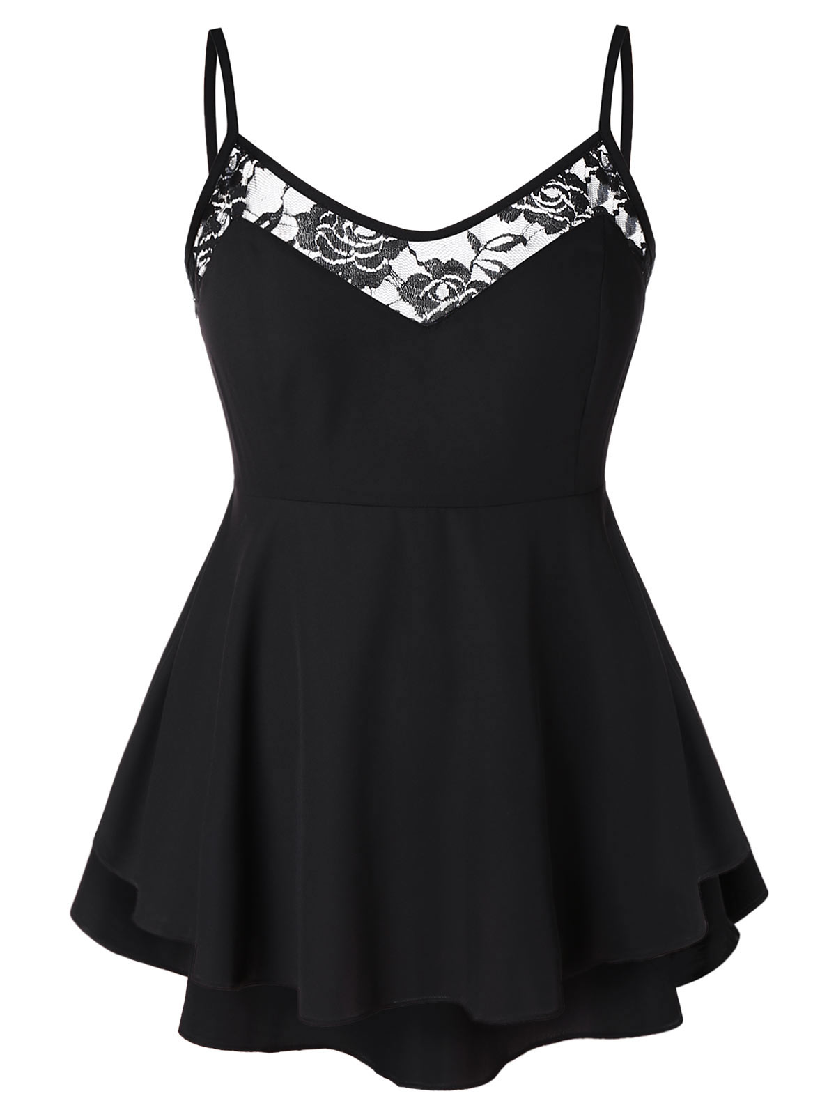 Wipalo Plus Size Women Camis Lace Spaghetti Strap High Low Peplum Tank Top A-Line Sexy Summer Tops Casual Club Underwear Femme