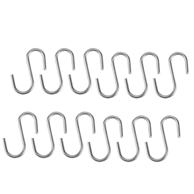 10 Pcs Heavy Duty Stainless Steel S Shaped Hooks Kitchen Spoon Pan Pot Utensils Hangers Clasp Over The Door Closet