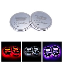 2Pcs LED Car Logo Cup Holder Pads 7 Colors Changing USB Charging Mats Bottle Coasters Car Atmosphere Lamps home cup pad(China)