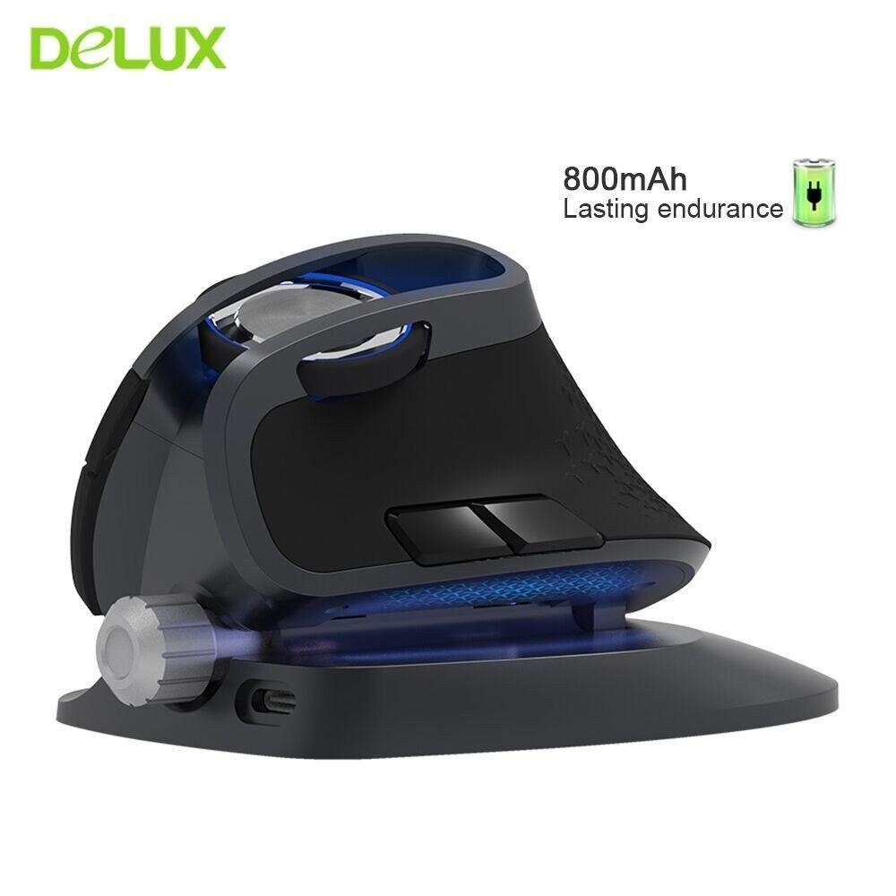 Delux M618 Plus Ergonomique Verticale souris sans fil 1200/1600/4000 DPI 6 Fonction Boutons souris optique avec Amovible repose-poignets