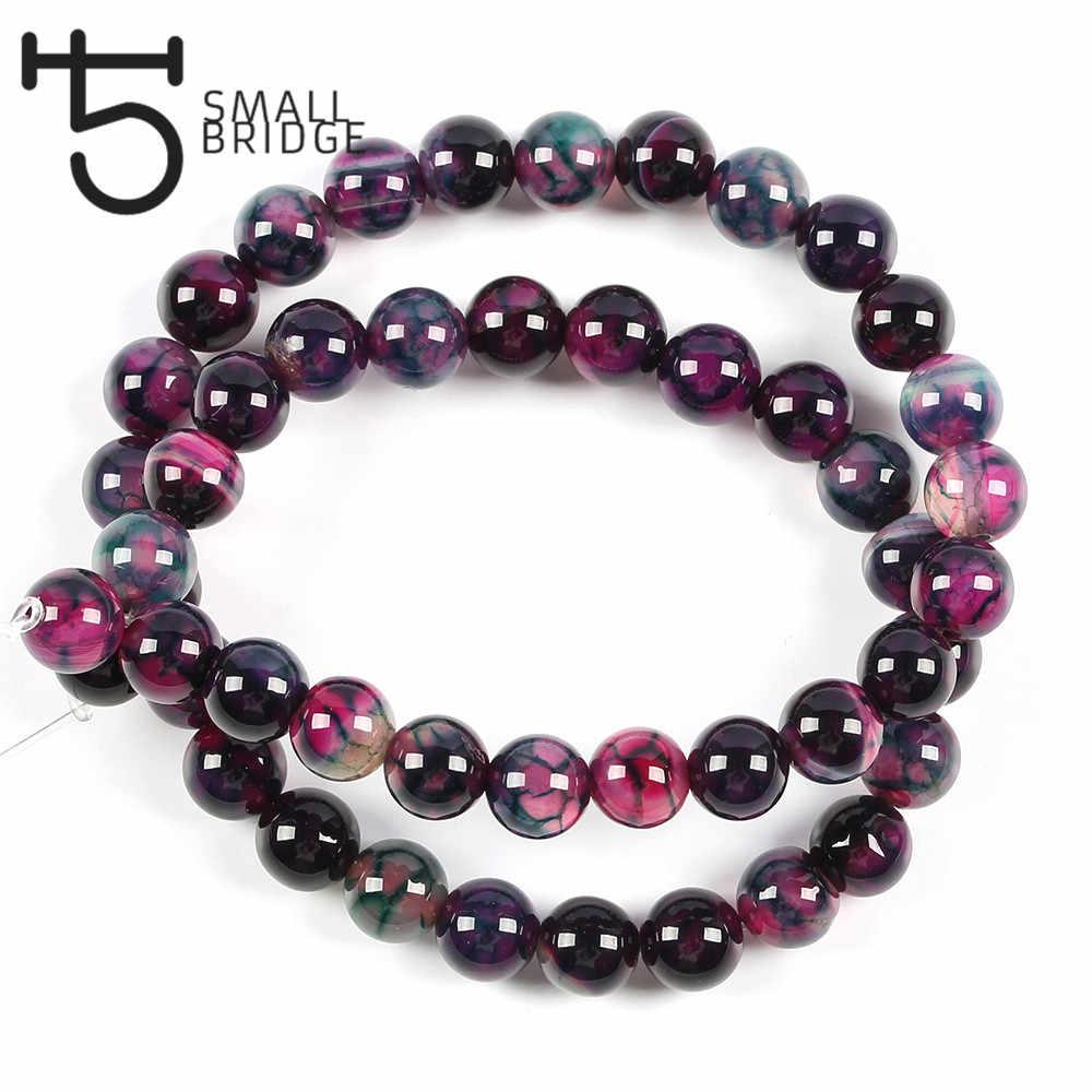 6 8 10mm okrągły gładki kamień naturalny koraliki do tworzenia biżuterii kobiety Diy bransoletka wzór agaty koraliki Strand hurtownia S602