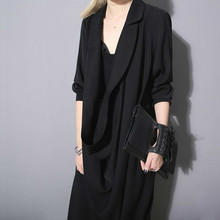 Dark System Design Heaps Collar three quarter sleeve Dress Summer women 657 все цены