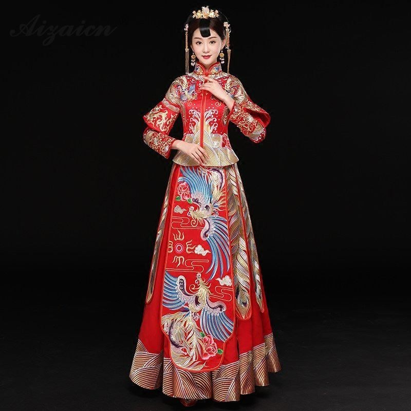 Spring Red Slim Cheongsam Long Dresses Modern Bride Marry Vintage Gown Women Chinese Traditional Wedding Dress Qipao Robe