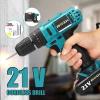 21V 2 Speed LED Electric Screwdriver Cordless Drills Wireless Rechargeable Battery Power Driver 3/8 Hand Tools 18+1 NM Torque