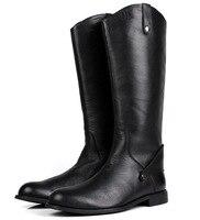 Большой Размеры EUR45 черные зимние сапоги до колена Мужские ботинки из натуральной кожи Сапоги для верховой езды мужские мотоботы