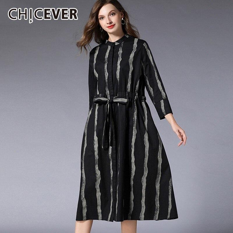da6a8d91d18a30a CHICEVER/2019 весенние платья в полоску для женщин, стоячий воротник,  длинный рукав,
