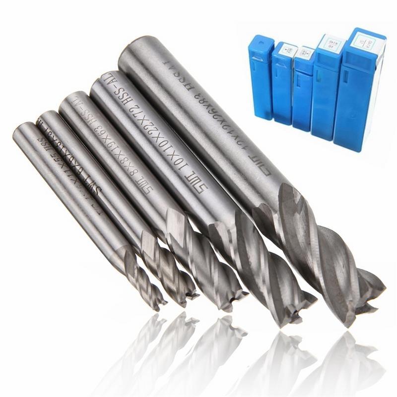 Mill Cutter Drill Bit Set HSS Straight Shank 4 Flute End Drill Bits Tool 4 6 /8 10 12mm For CNC Milling Machine