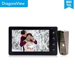 Dragonsview 7 pulgadas Video de la puerta del sistema de intercomunicación teléfono Blanco/negro de Video de la puerta de entrada Panel intercomunicadores para casa privada llamada panel