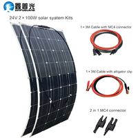 200 Вт солнечная система 100Watt * 2 Гибкая солнечная панель Монокристаллический Модуль эффективный сотовый кабель батарея RV Yacht автомобиль дома