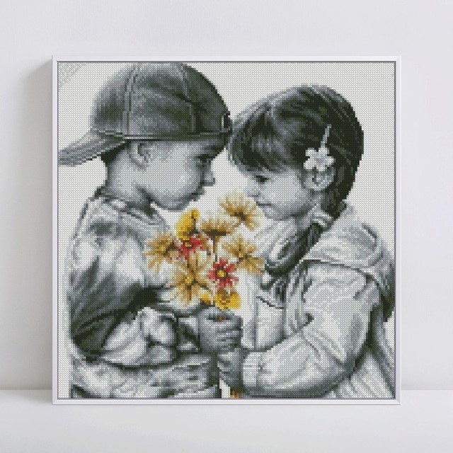 HUACAN 5D DIY Diamond Painting People Home Decor Full Drill Square Girl Boy Picture Of Rhinestone