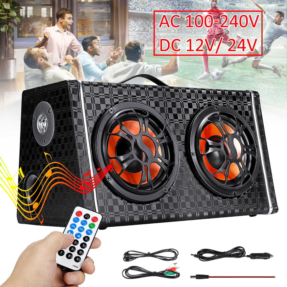 6 inch  DC 12V / 24V Wireless bluetooth Car Subwoofer Speaker Amplifier AC 100-240V Home Audio FM Radio Stereo Player Speakers