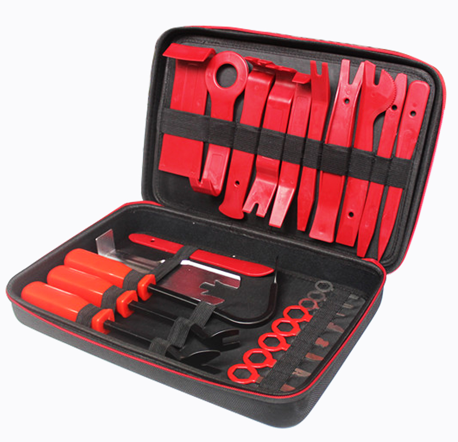 24Pcs Set Car Door Panel Trim Dashboard Clips Pliers Fastener Removal Tools Kit with Storage Bag