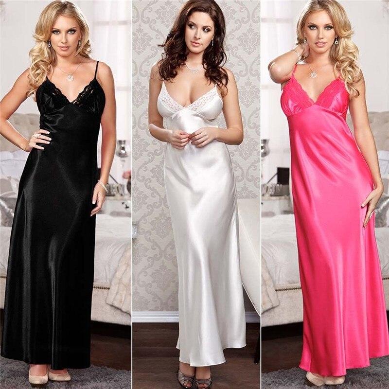 2019 New Women Satin Silk Sleepwear Nightdress Lingerie Night Dress Loose Long Solid Sleep Dress Vestidos Robe