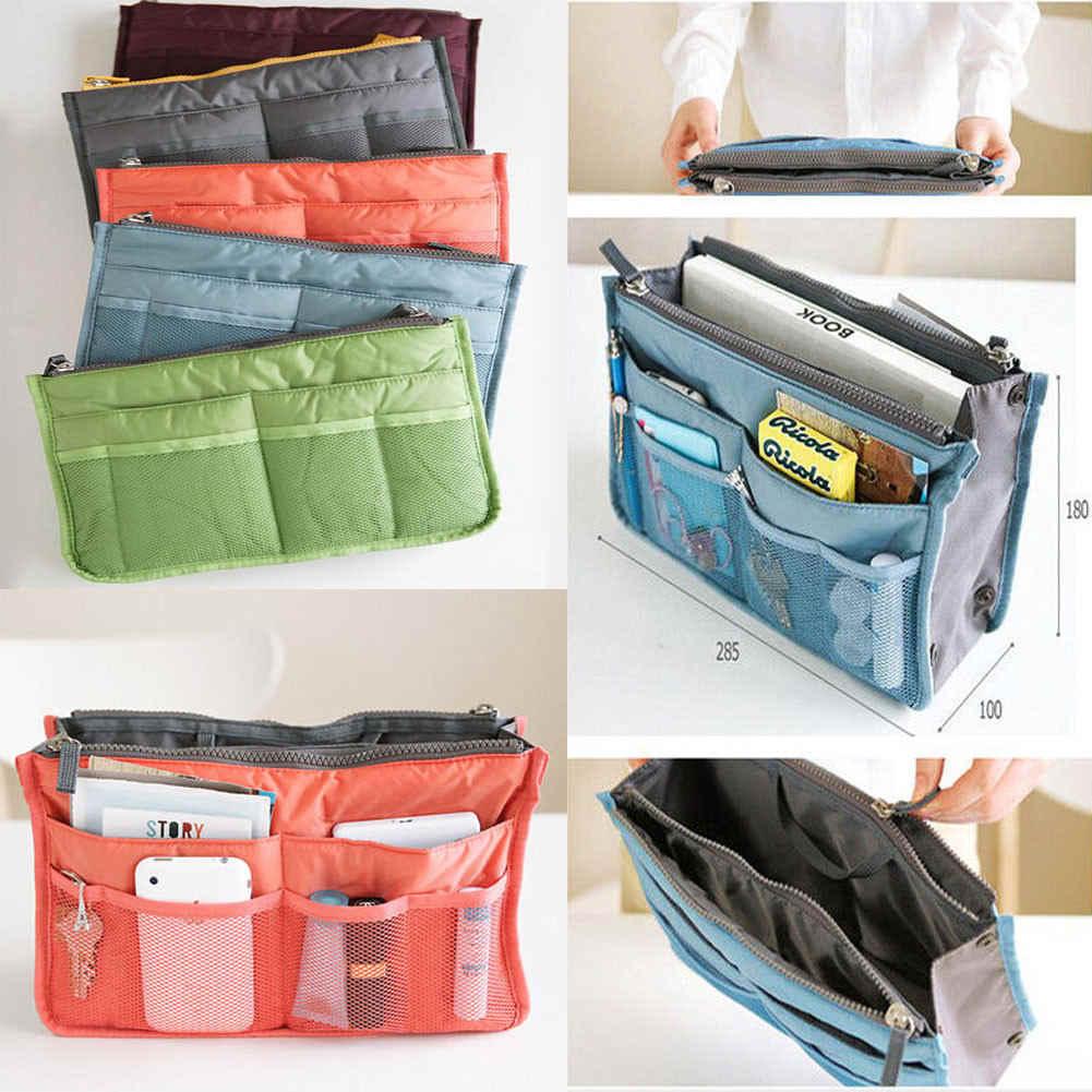 2019 модные женские туфли женские портативная, для путешествий, косметическая сумка Вставка сумки из натуральной кожи сумка-Органайзер для сумки для хранения сумок Хранение Косметики сумка