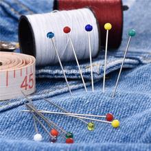 100 sztuk zestaw 38mm moda igły do szycia kolorowe szklane głowy koralik pin stitch szydełka szycia naprawiono DIY agrafka AQ031 tanie tanio Agrafki steel wire