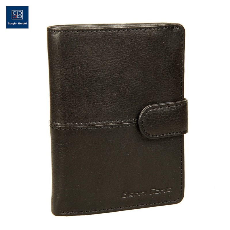Coin Purse with cover Gianni Conti 1138451E black short genuine leather men rfid wallet cowhide cover coin purse male wallets