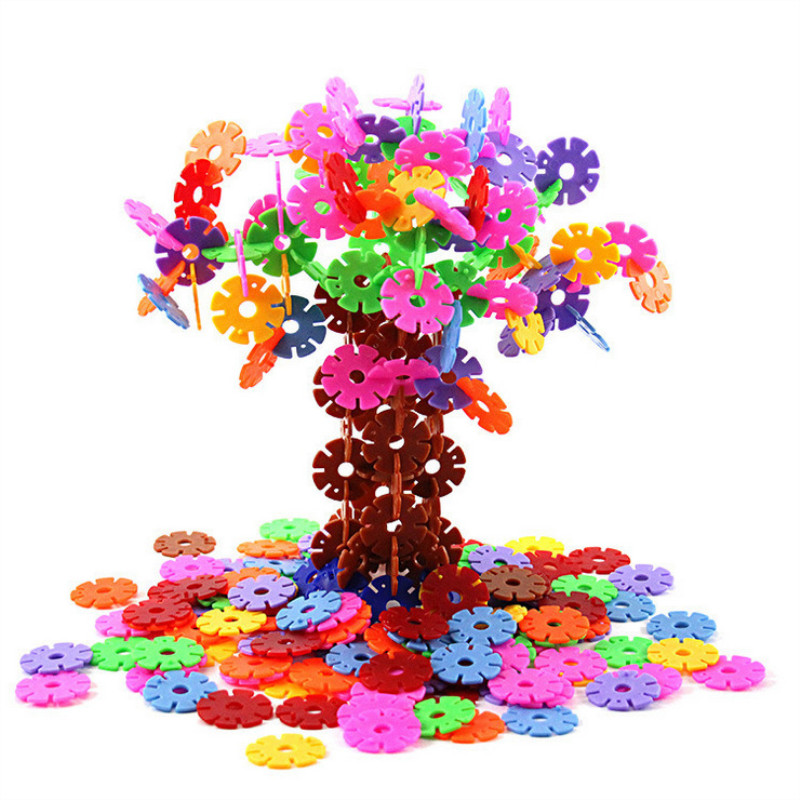 Snowflake Building Blocks DIY Educational Assembled Bricks Blocks Toys for Children Birthday Christmas Gift 100/200/300/400pcs