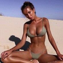 цена 2019 Sexy Women Swimwear Bikini Push Up Swimsuit Solid Beachwear Bathing Suit Thong Biquini Bikini Set онлайн в 2017 году