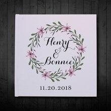 Красивый персонализированный цветочный венок Белый Свадебный Гость книга, индивидуализированный свадебный подарок для пары, вечерние украшения, фотоальбом