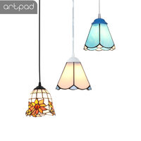 Artpad Mediterranean Style Retro Tiffany Pendant Light Clear Stained Glass Sconces Coffee Shop Hotel Corridor LED Hanging Lamp