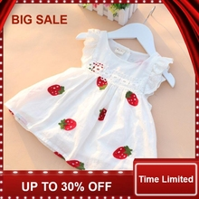 Girls Dress Summer Children Clothing Embroidery Flower Strawberry Cotton Newborn Baby Princess Birthday