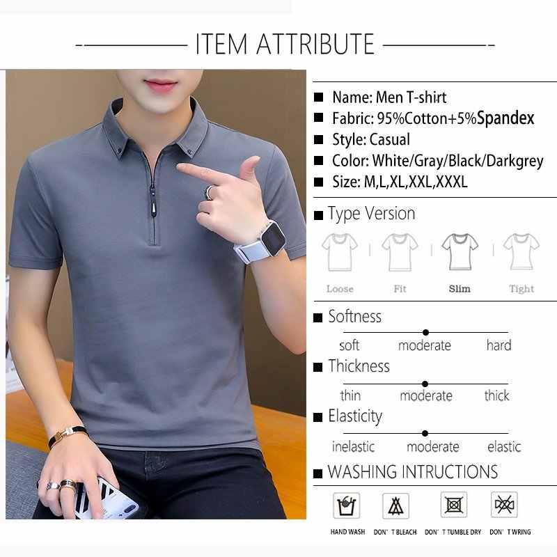 BROWON Summer Fashion 2019 męskie koszulki letnia bawełniana koszulka męska z krótkim rękawem skręcić w dół kołnierz koreański styl mężczyzna T Shirt