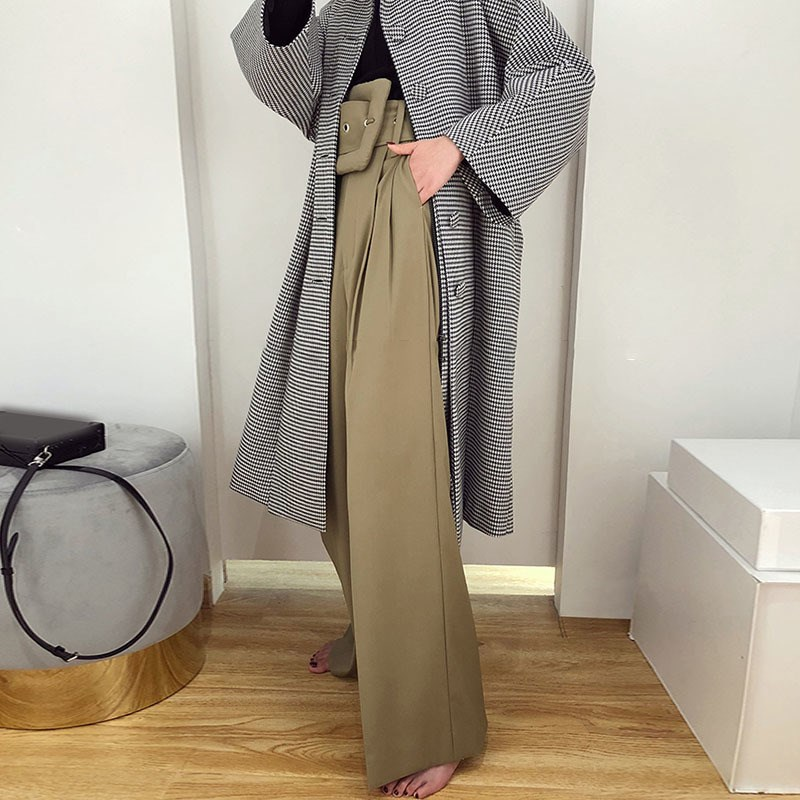 2019 Spring Autumn Korean Women Casual Black/Khaki Trousers High Waist Bandage   Wide     Leg     Pants