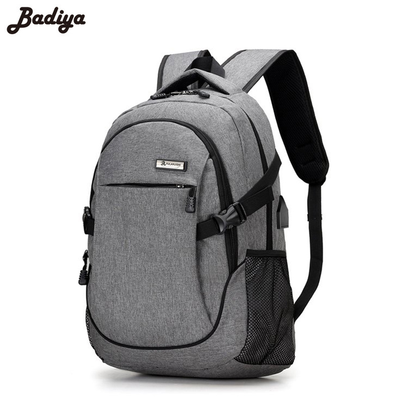 d598fdcbd321 US $18.67 41% OFF|Anti theft Backpack Men Solid Oxford Waterproof Men's  Backpacks USB Charging School Shoulder Bags Students Travel Bag Male-in ...