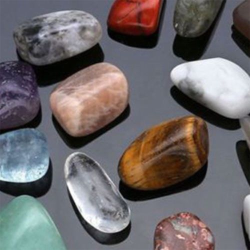 Fashion 20pcs Natural Crystal Gemstone Polished Healing Chakra Stone Display