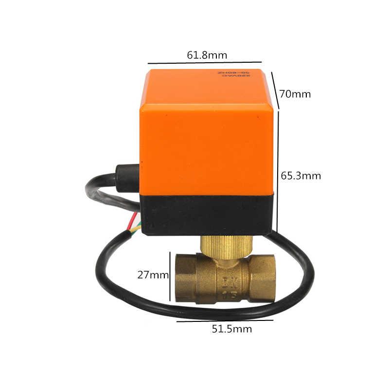 """Válvula de bola motorizada eléctrica DN15 (G 1/2 """")/DN20 (G 3/4"""") AC220V 2 vías 3 alambre latón cobre 4W mejor promoción"""