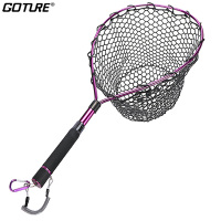 Goture Fly Fishing Landing Net Alunimum Alloy Frame Soft Rubber Mesh EVA Handle Carp Bass Trout Fishing Tackle