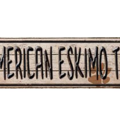 Smart Blonde American Eskimo Trail Novelty Metal Vanity Mini Street Sign