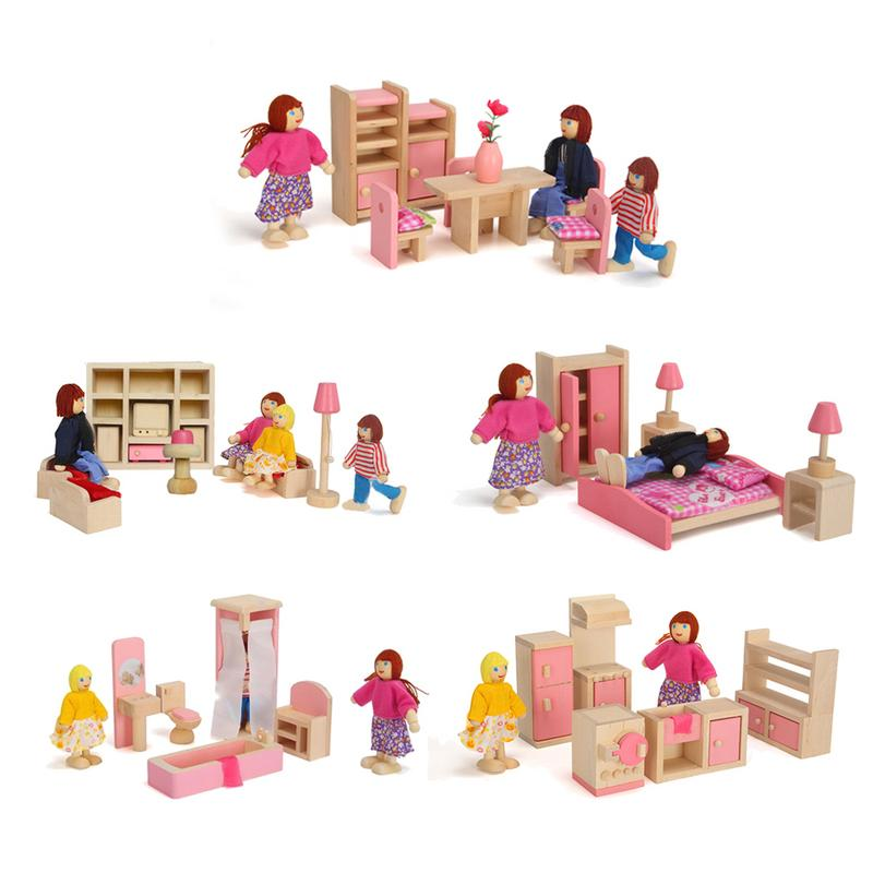 Kids Girls Pretend Pink Wood Dollhouse Kitchen Toy Miniature Chair Table Furniture Accessories For Dolls Toys Children Gift