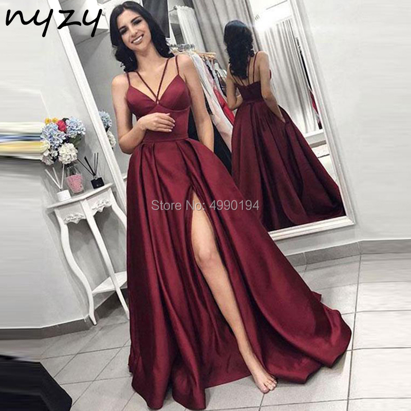 NYZY P16 Satin   Dress   High Leg Cut Slit Burgundy   Prom     Dresses   Long 2019 Halter Formal   Dress   Women Elegant vestido robe soiree