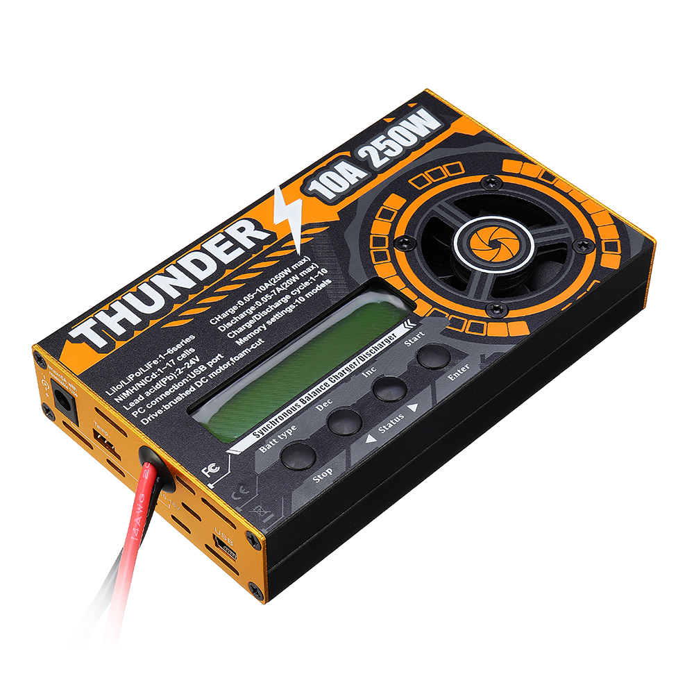 HOTA Thunder 250W/20W 10A DC LiPo NiCd PB Balance Charger Discharger For 1-6s/17s Battery For RC Models Spare Parts цена 2017