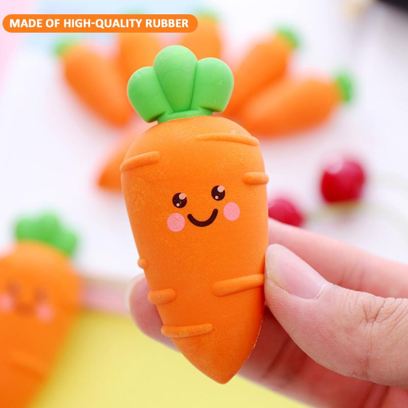 School Office Correction Supplies Mini Carrot Shaped Eraser Cartoon Rubber Elastic Painting Eraser Children Stationery Papelaria