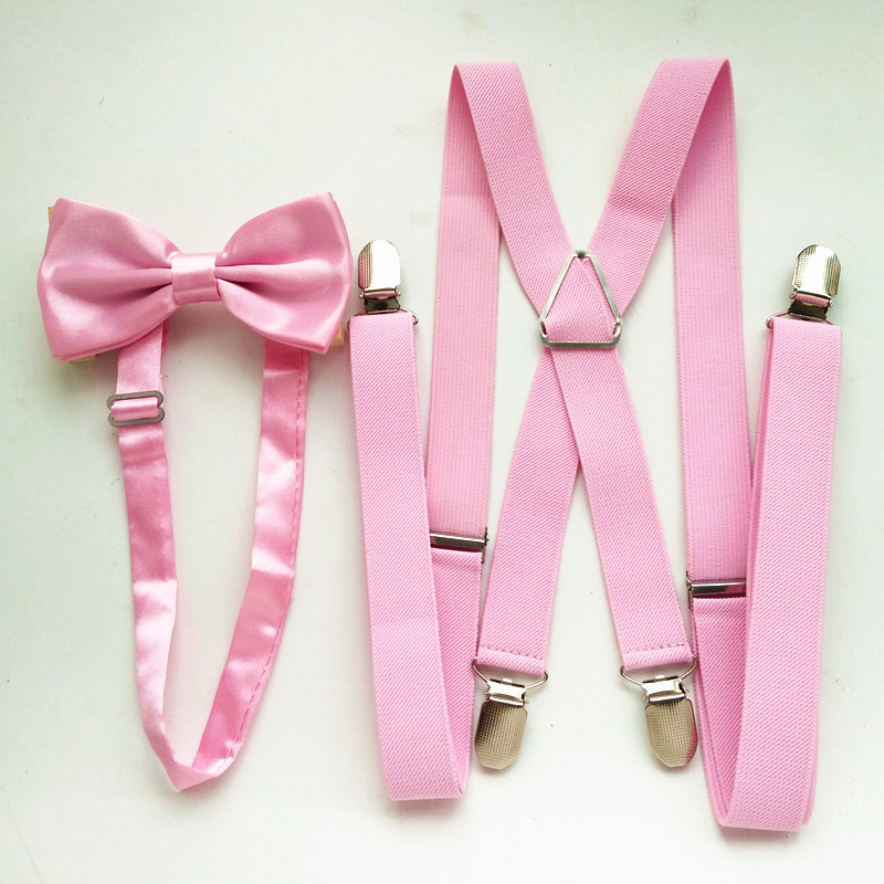 Light Pink  Women Mens Supenders Bowtie Sets High Elastic Strap Strong 4 Clips-on Suspender Bow Tie Set For Adult Boys LB002