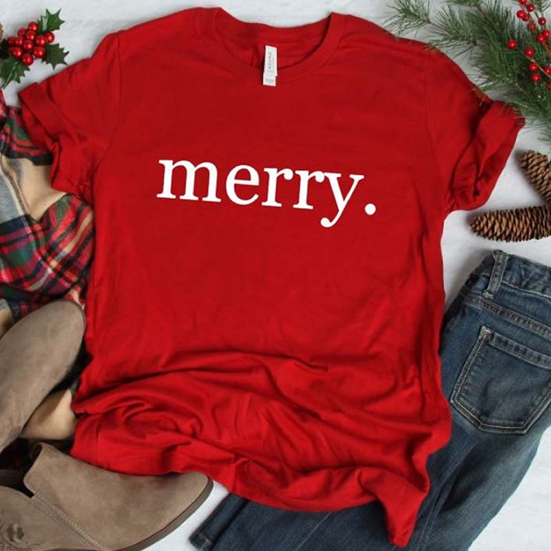 merry christmas print aesthetic t shirt women short sleeve