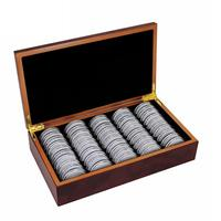 Solid Wood 50 Coin Storage Boxes Round Coin Storage Wooden Box Commemorative Coin Collection Box