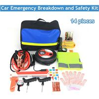 14pcs Vehicle emergency rescue bag Automobile Truck tire pressure gauge Tool kit Maintenance tools First aid kit Safety hammer