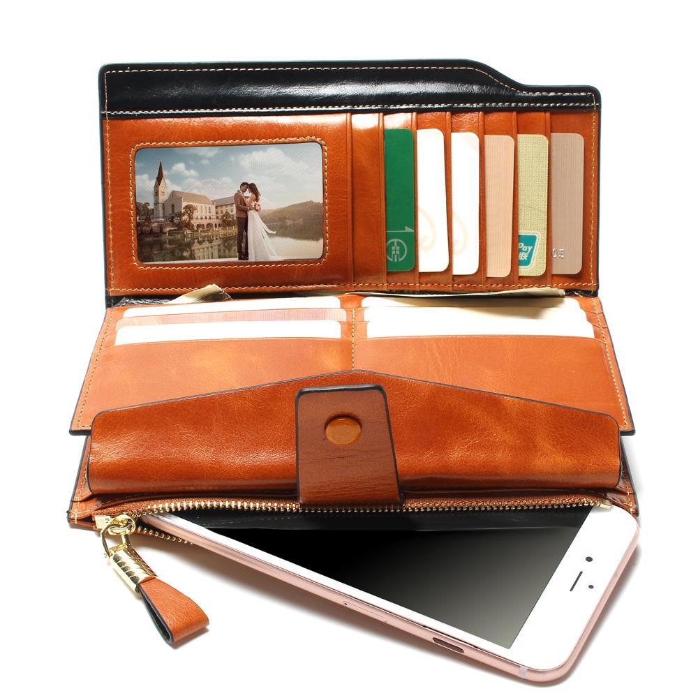 2019 Ny design mode multifunktionell handväska äkta läder plånbok - Plånböcker - Foto 2