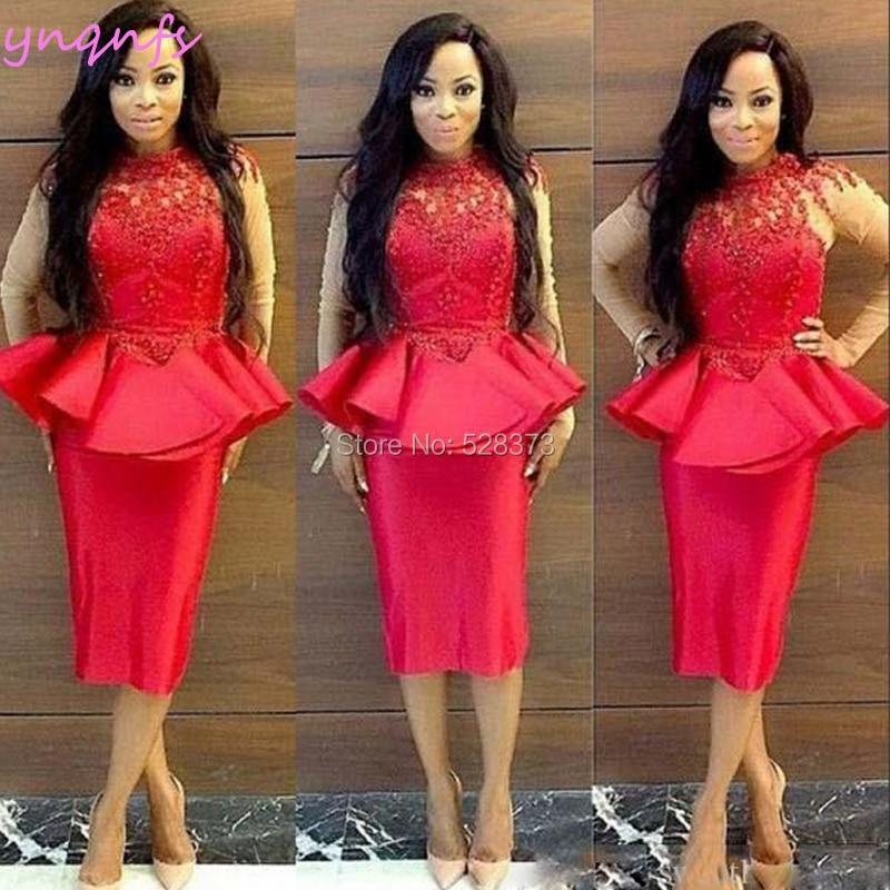 YNQNFS C12 Elegant Tea Length Lace Celebrity Pearls Dress Party Red Mother Of Bride Dresses Long Sleeves Vestido De Festa 2019