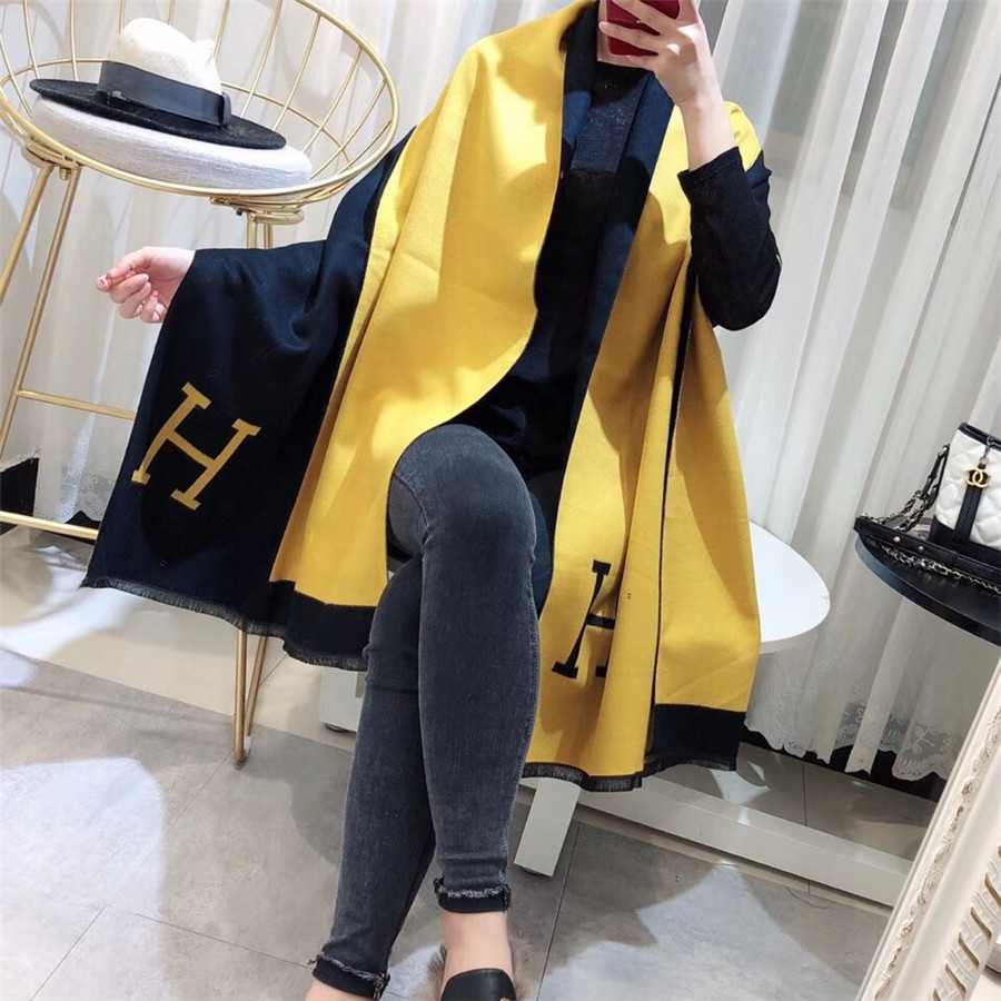 Luxury Women   Scarf   Winter Autumn Woman   Scarves     Wrap   Shawl Thick Women's h Warm Cotton Cashmere Wool Blended Knit Brushed Poncho