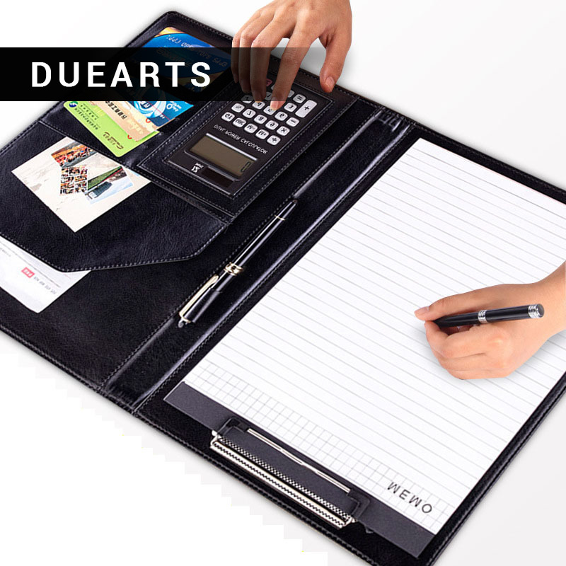 DUEARTS A4 PU Leather File Folder With Calculator Multifunction Office Supplies Organizer Manager Writing Pads Padfolio