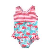 От 3 до 7 лет; Детские купальники; коллекция года; одежда для купания для маленьких девочек с оборками; милое животное Фламинго; боди с принтом; купальный костюм для девочек