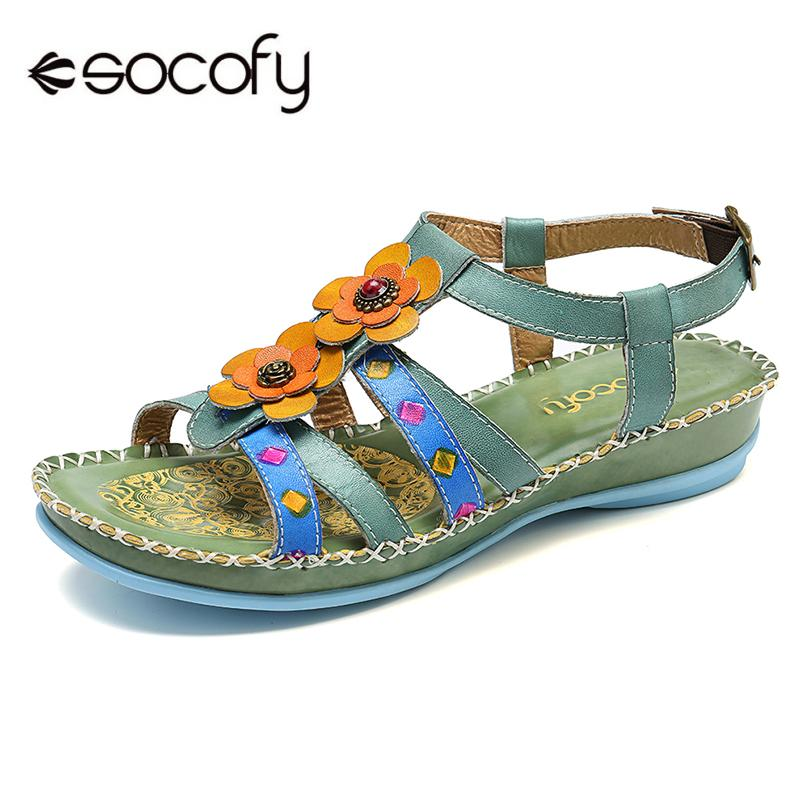SOCOFY Sooo Comfy Genuine Leather Floral Stitching Buckle Strap Forest Sandals Retro Summer  Elegant Shoes Ladies Shoes New 2019SOCOFY Sooo Comfy Genuine Leather Floral Stitching Buckle Strap Forest Sandals Retro Summer  Elegant Shoes Ladies Shoes New 2019