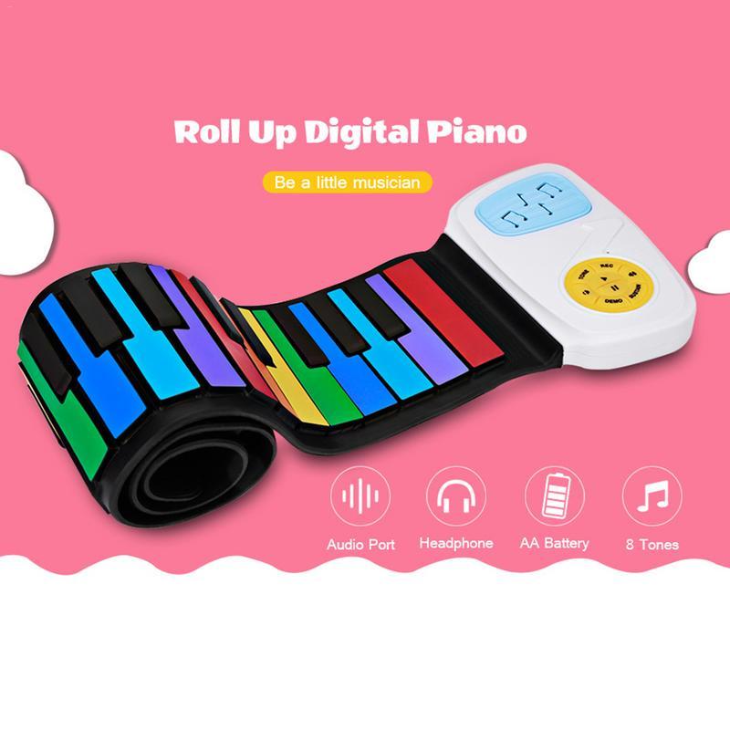 IRIN Musique Clavier 49 Touches De Couleur Flexible Piano Électronique Main Roll Up Piano Orgue Électronique Clavier Musique Cadeau D'éclairage